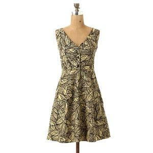ANTHROPOLOGIE Weston Emerging Leaves Dress Pockets